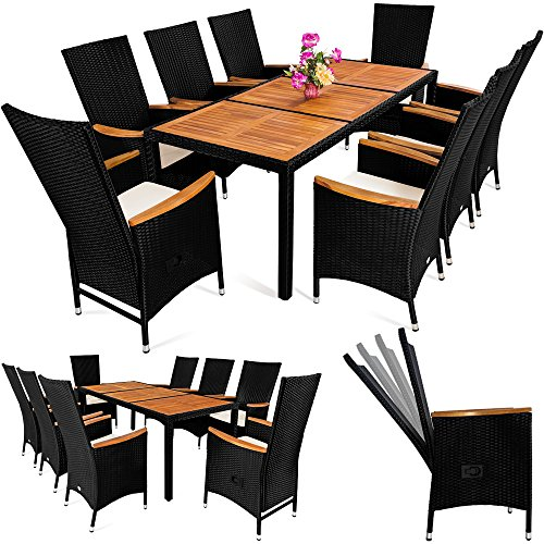 Deuba Poly Rattan Sitzgruppe 8+1 Schwarz | 7 cm dicke...