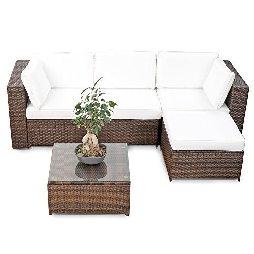XINRO erweiterbares 15tlg. Balkon Polyrattan Lounge...
