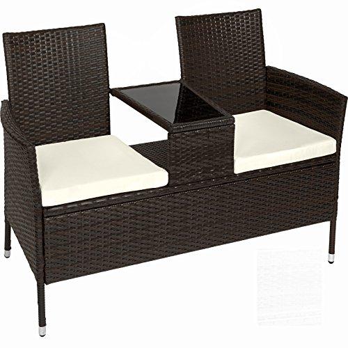 TecTake Sitzbank mit Tisch Poly Rattan Gartenbank...